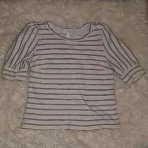 ERIN+ALI french terry puff sleeve stripe blouse XS